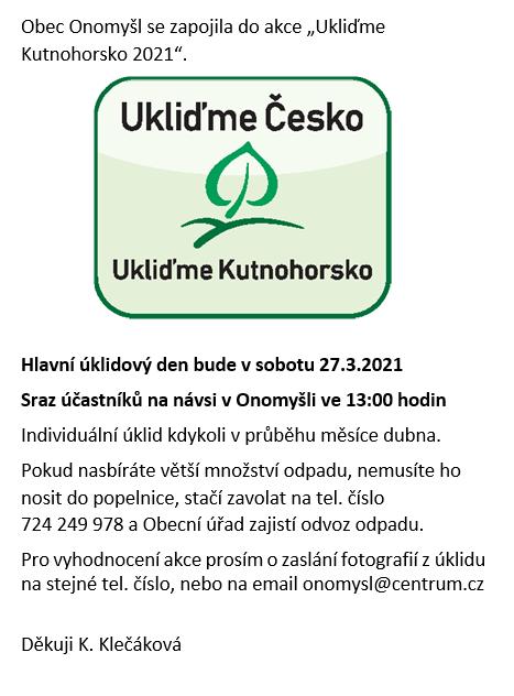 Ukliďme Česko - Ukliďme Kutnohorsko 27.3.2021 1